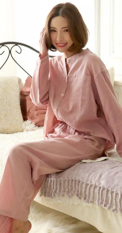 ダブルガーゼ パジャマ 上下セット ピンク
