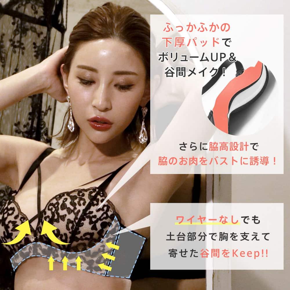 レーシーヒョウ柄 ノンワイヤー 超盛ブラ(R) 単品ブラジャー