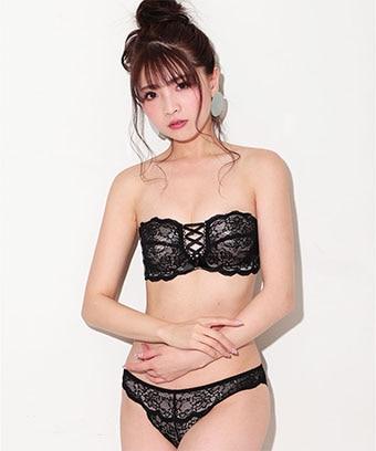 【プライスダウン】ヌーディーレースアップ ハーフカップ ブラジャー&ショーツ