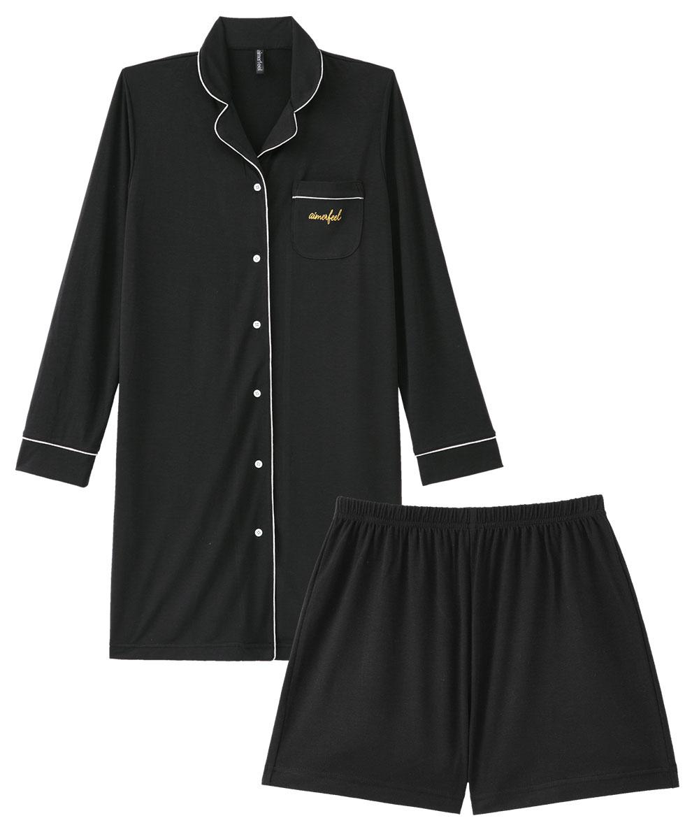【プライスダウン】無地 ワンピース パジャマ 上下セット