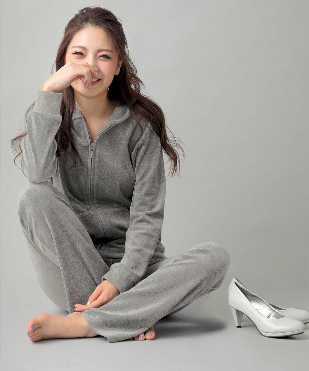 【プライスダウン】美シルエット ベロア パーカー 単品トップス:MODEL:161cm/SIZE:M