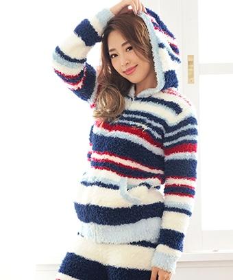 【プライスダウン】ペアマルチボーダー パーカー 単品トップス (男女兼用サイズ)