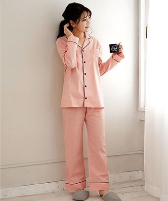 【プライスダウン】ペア長袖 シャツパジャマ 上下セット (男女兼用サイズ)