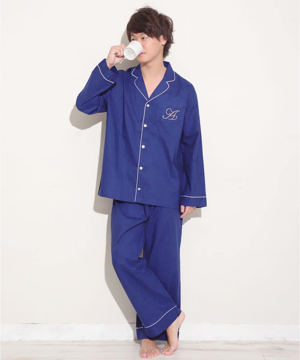長袖 シャツパジャマ 上下セット (男女兼用サイズ):MODEL:173cm/SIZE:LL