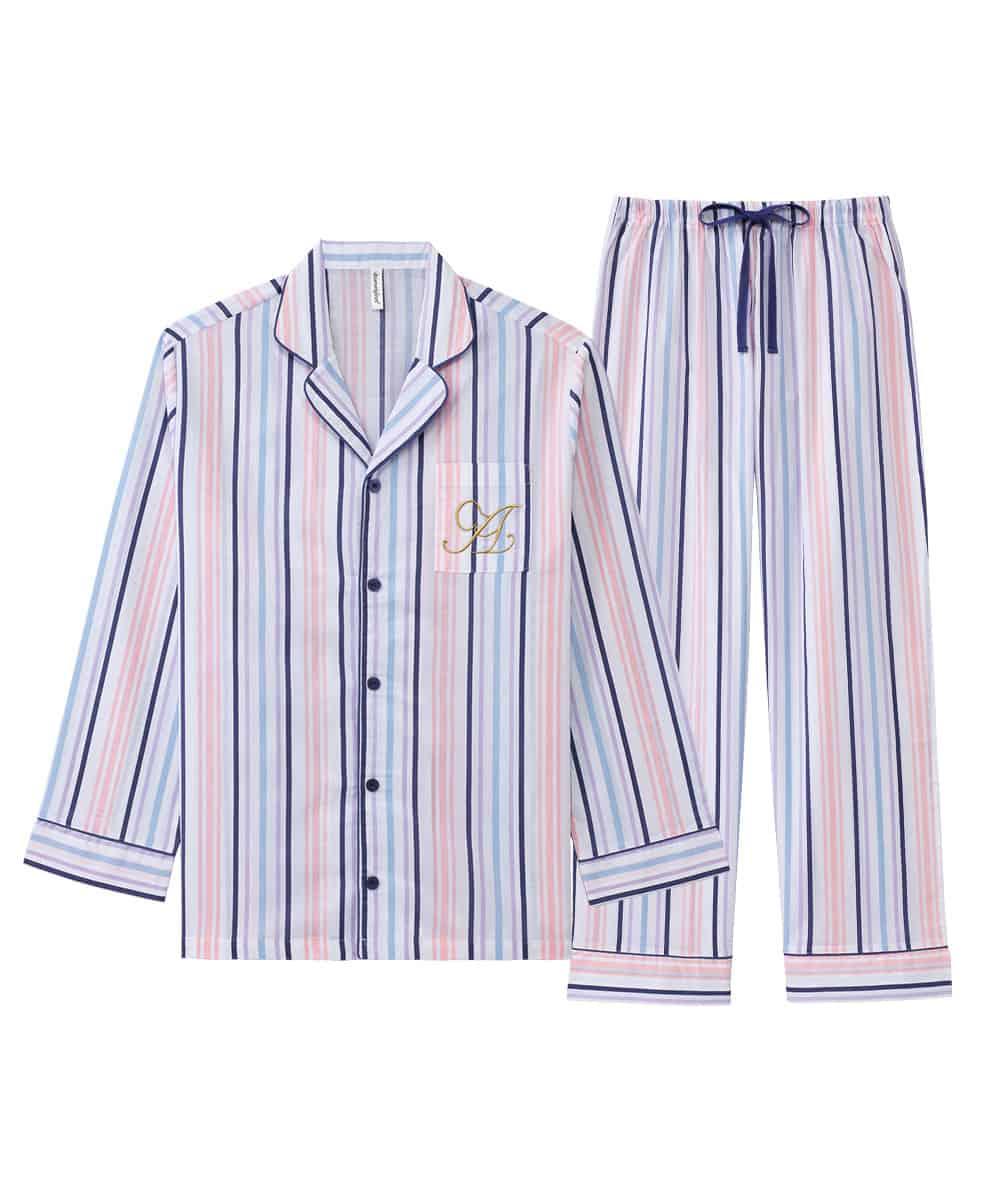 【プライスダウン】長袖 シャツパジャマ 上下セット (男女兼用サイズ)