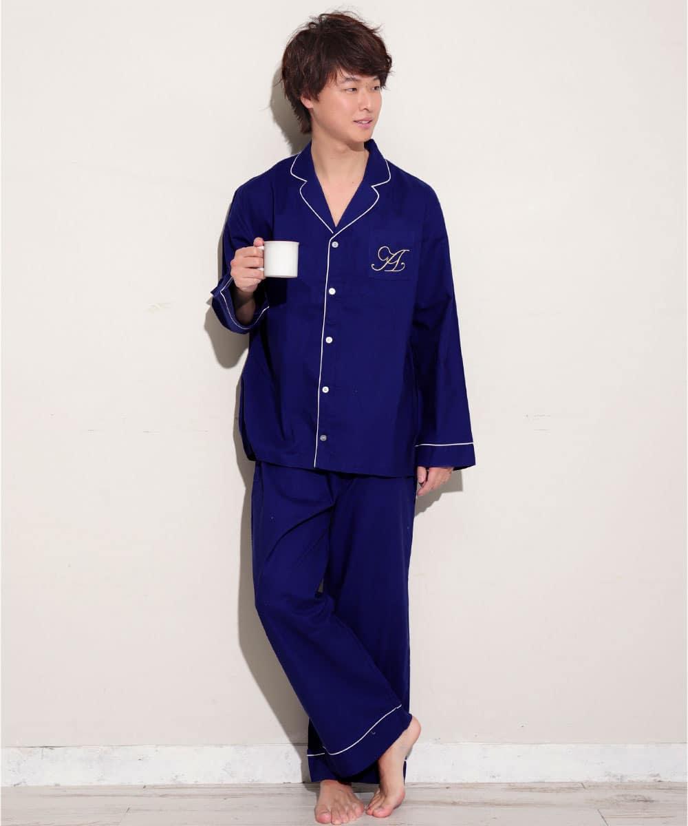 【プライスダウン】長袖 シャツパジャマ 上下セット (男女兼用サイズ):MODEL:173cm/SIZE:LL