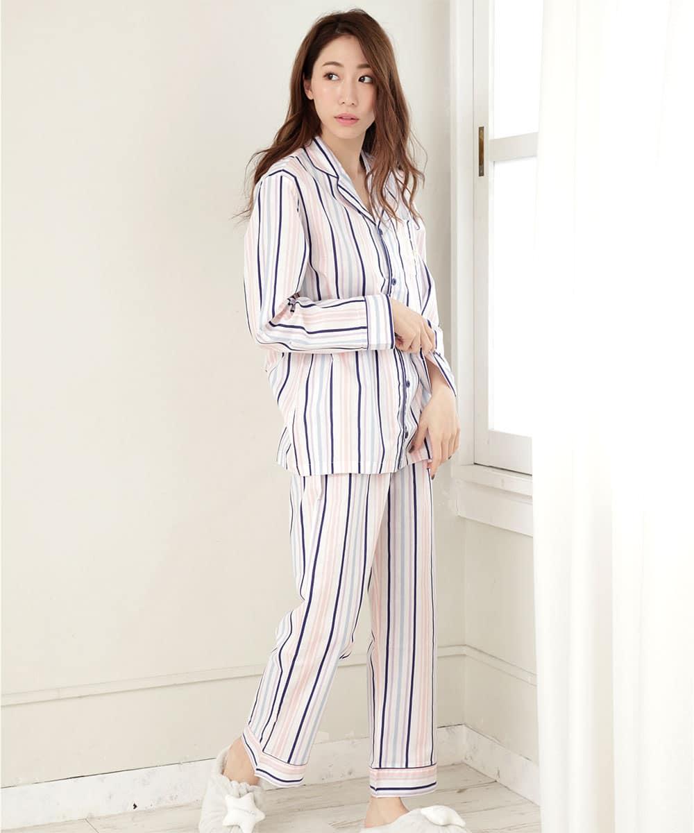 【プライスダウン】長袖 シャツパジャマ 上下セット (男女兼用サイズ):MODEL:164cm/SIZE:M