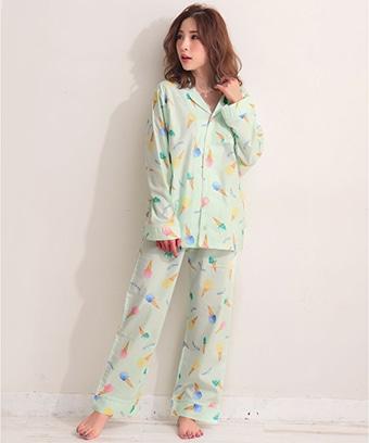 【プライスダウン】スイーツ柄 長袖 シャツパジャマ 上下セット