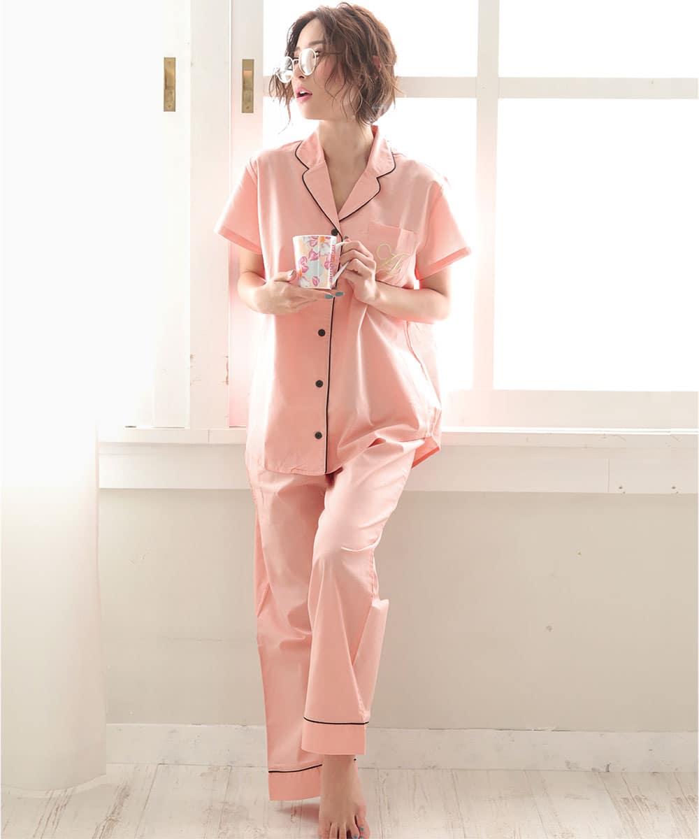 半袖 ロングパンツ パジャマ 上下セット:MODEL:158cm/SIZE:M