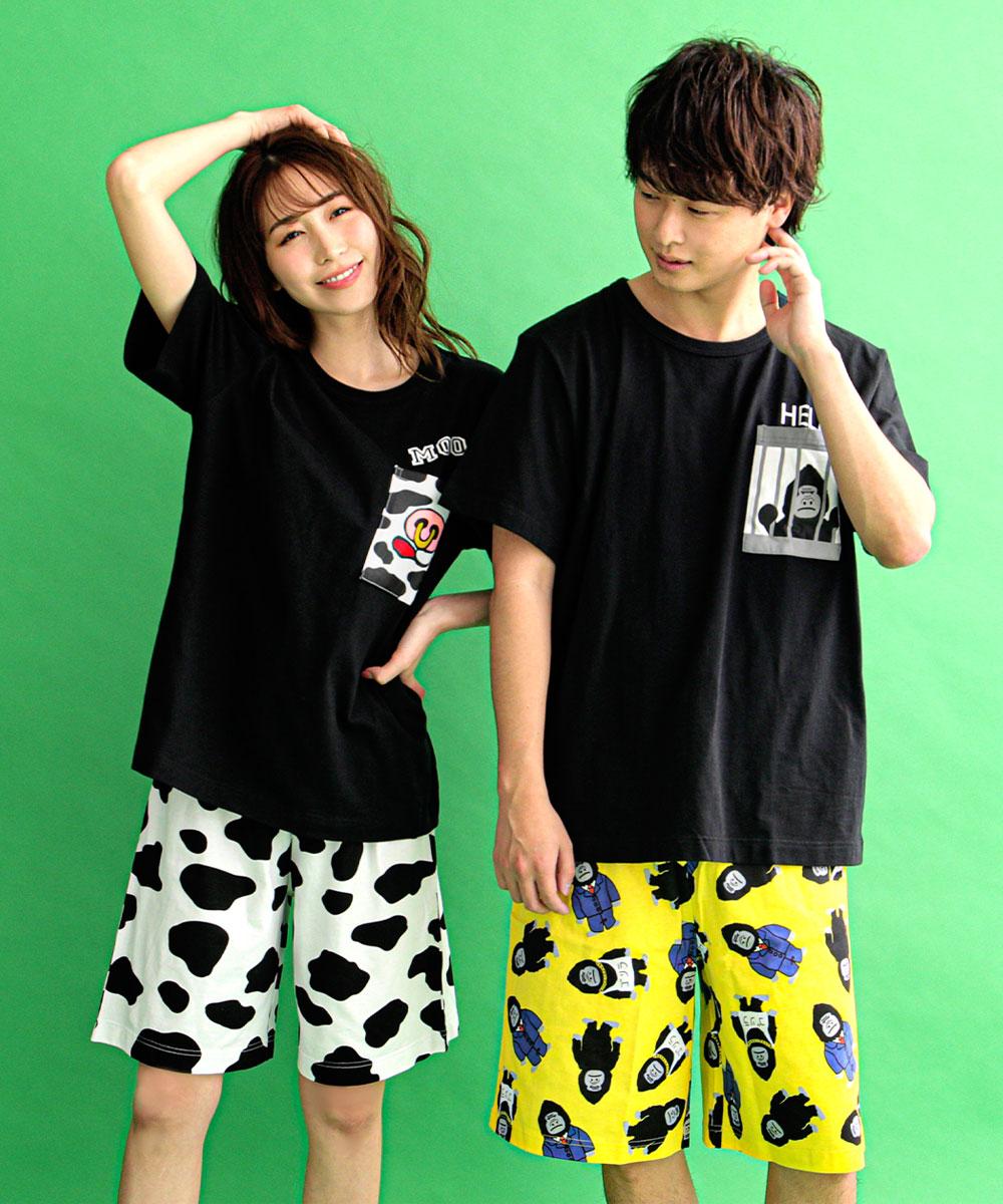 ポケットTシャツ 上下セット (男女兼用サイズ):左から、173cm/LL、164cm/M