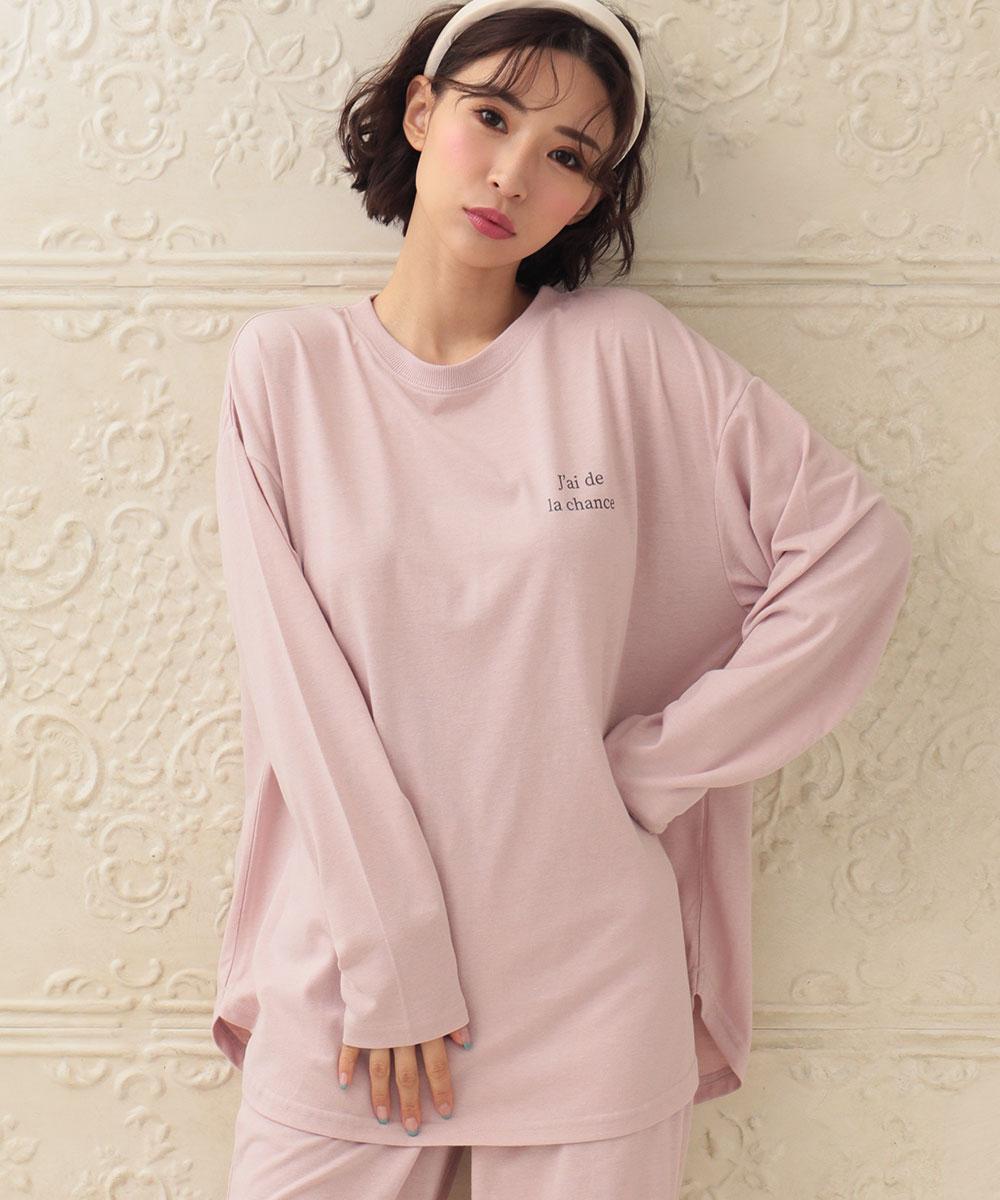 バックプリント ロングTシャツ 上下セット:MODEL:158cm/SIZE:M