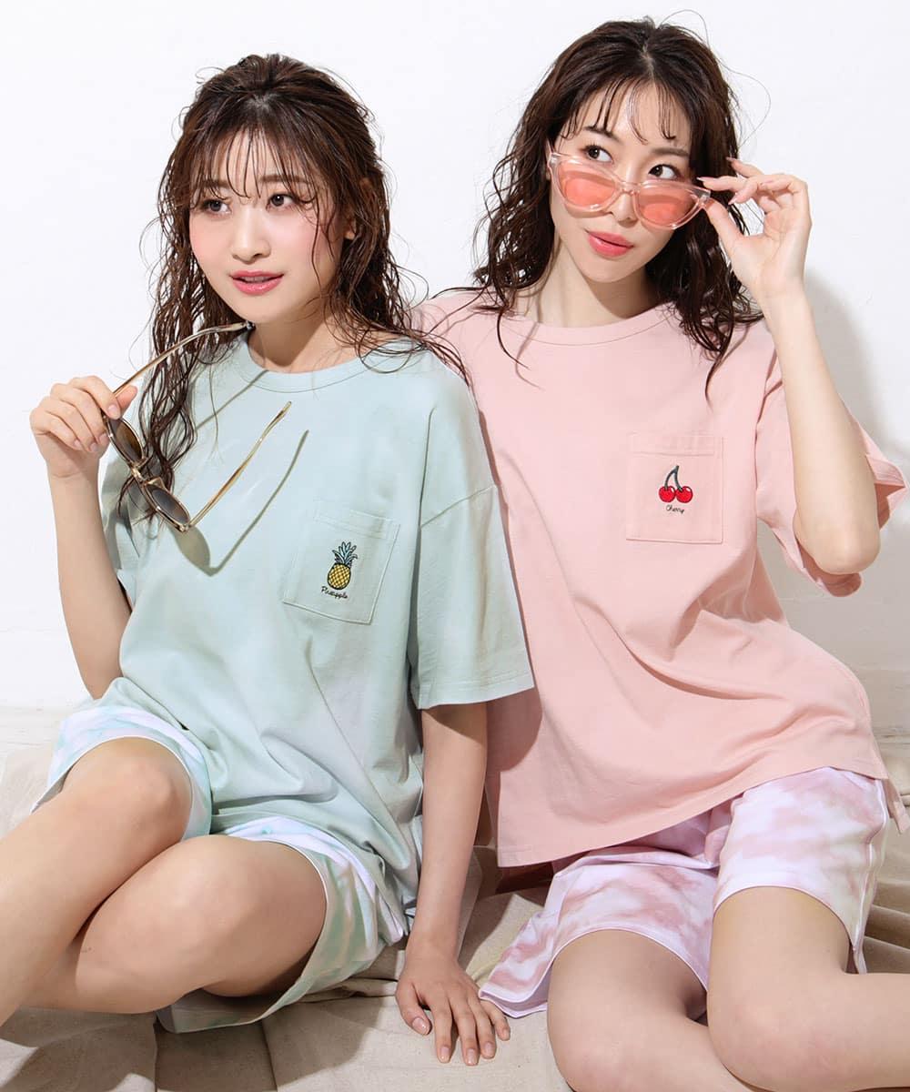 【プライスダウン】ワンポイント刺繍 Tシャツ 上下セット