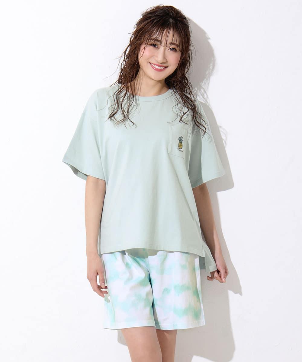 ワンポイント刺繍 Tシャツ 上下セット:MODEL:167cm/SIZE:M
