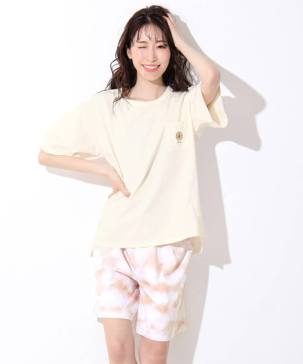 ワンポイント刺繍 Tシャツ 上下セット ルームウェア