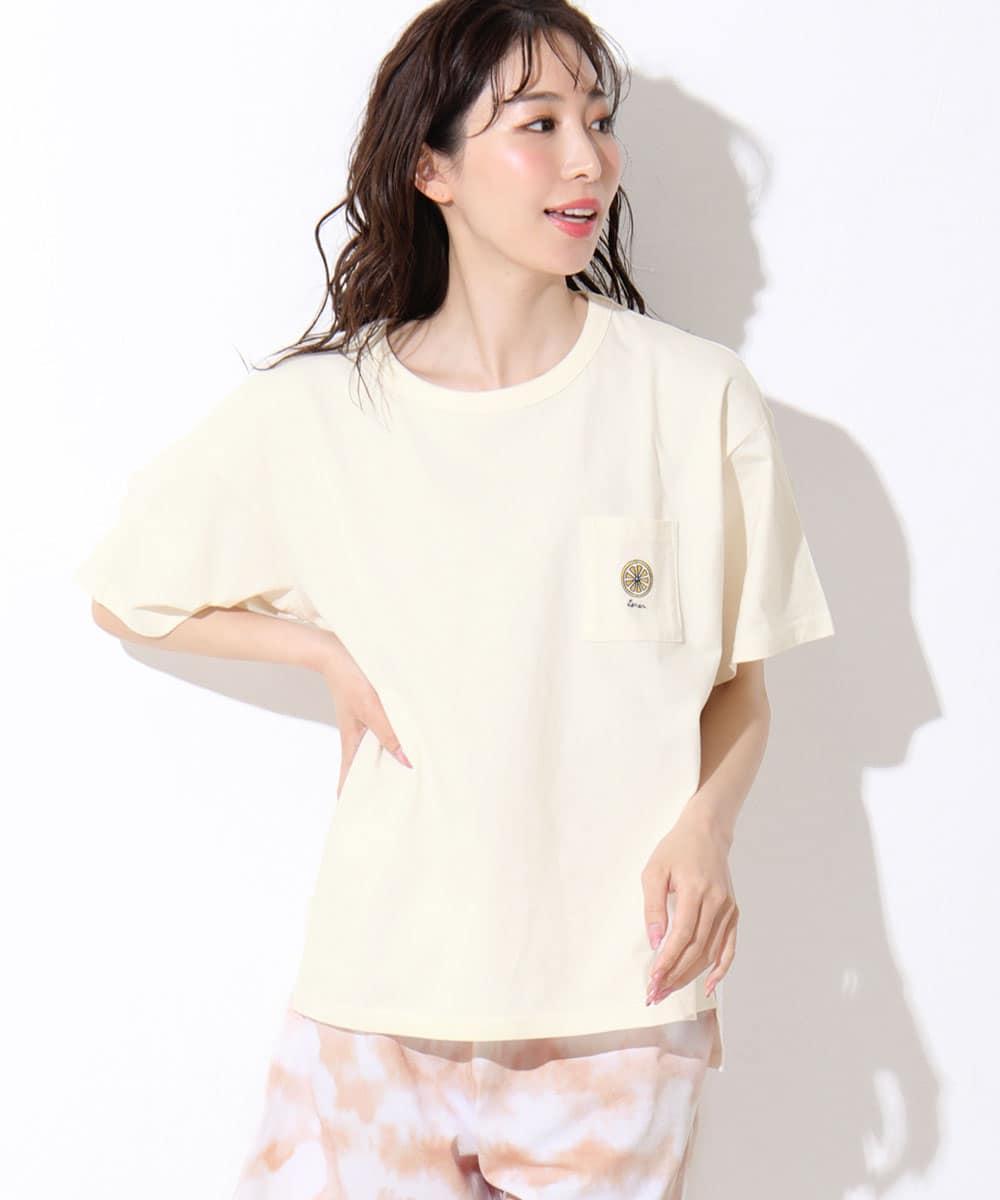 【プライスダウン】ワンポイント刺繍 Tシャツ 上下セット:MODEL:164cm/SIZE:M