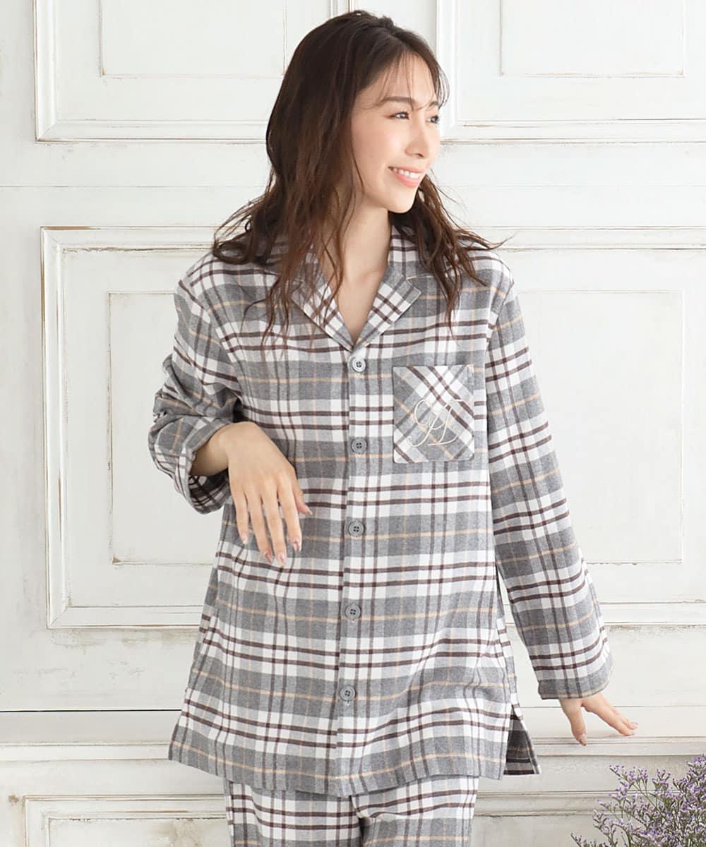 ネルシャツ2 パジャマ 上下セット (男女兼用サイズ):MODEL:164cm/SIZE:M