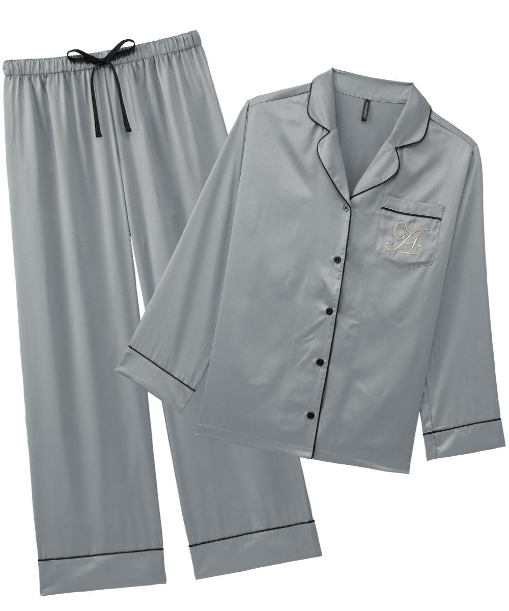 シルクタッチサテン パジャマ 上下セット