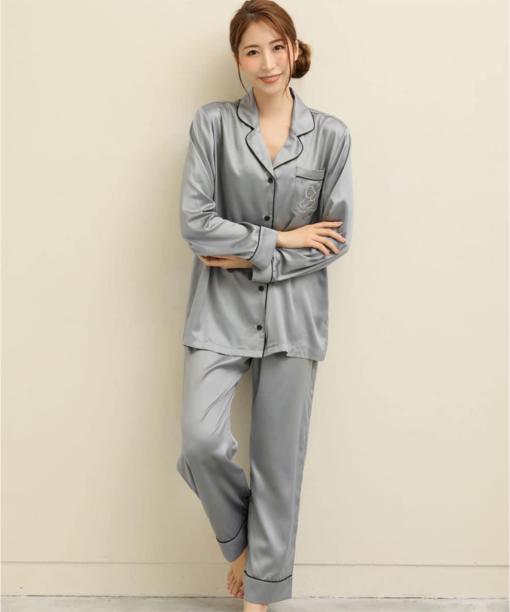 シルクタッチサテン パジャマ 上下セット:MODEL:164cm/SIZE:M