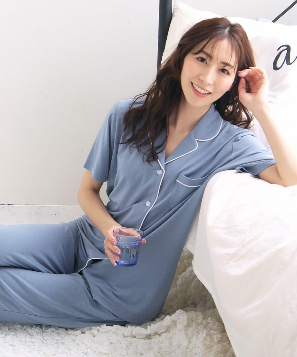 ひんやりタッチパジャマ 上下セット:MODEL:164cm/SIZE:M