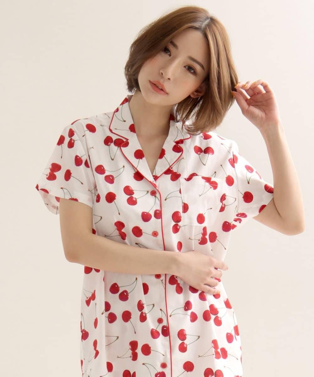 綿100% 半袖 シャツパジャマ 上下セット:MODEL:158cm/SIZE:M