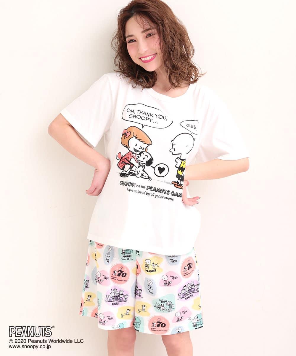 PEANUTS70周年記念 レトロスヌーピー Tシャツ 上下セット:MODEL:158cm/SIZE:M