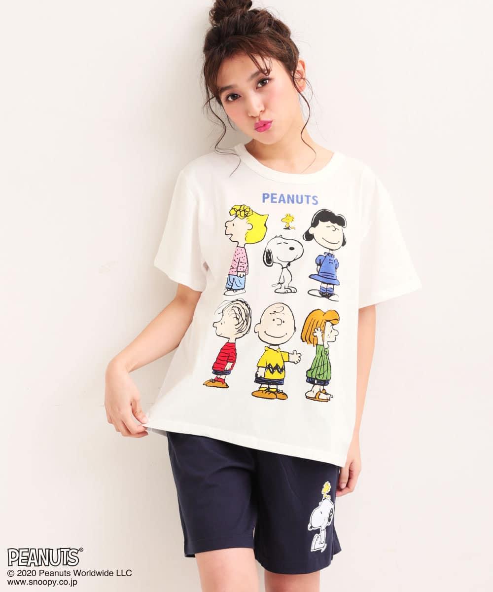 【プライスダウン】PEANUTS スヌーピー グラフィック Tシャツ 上下セット