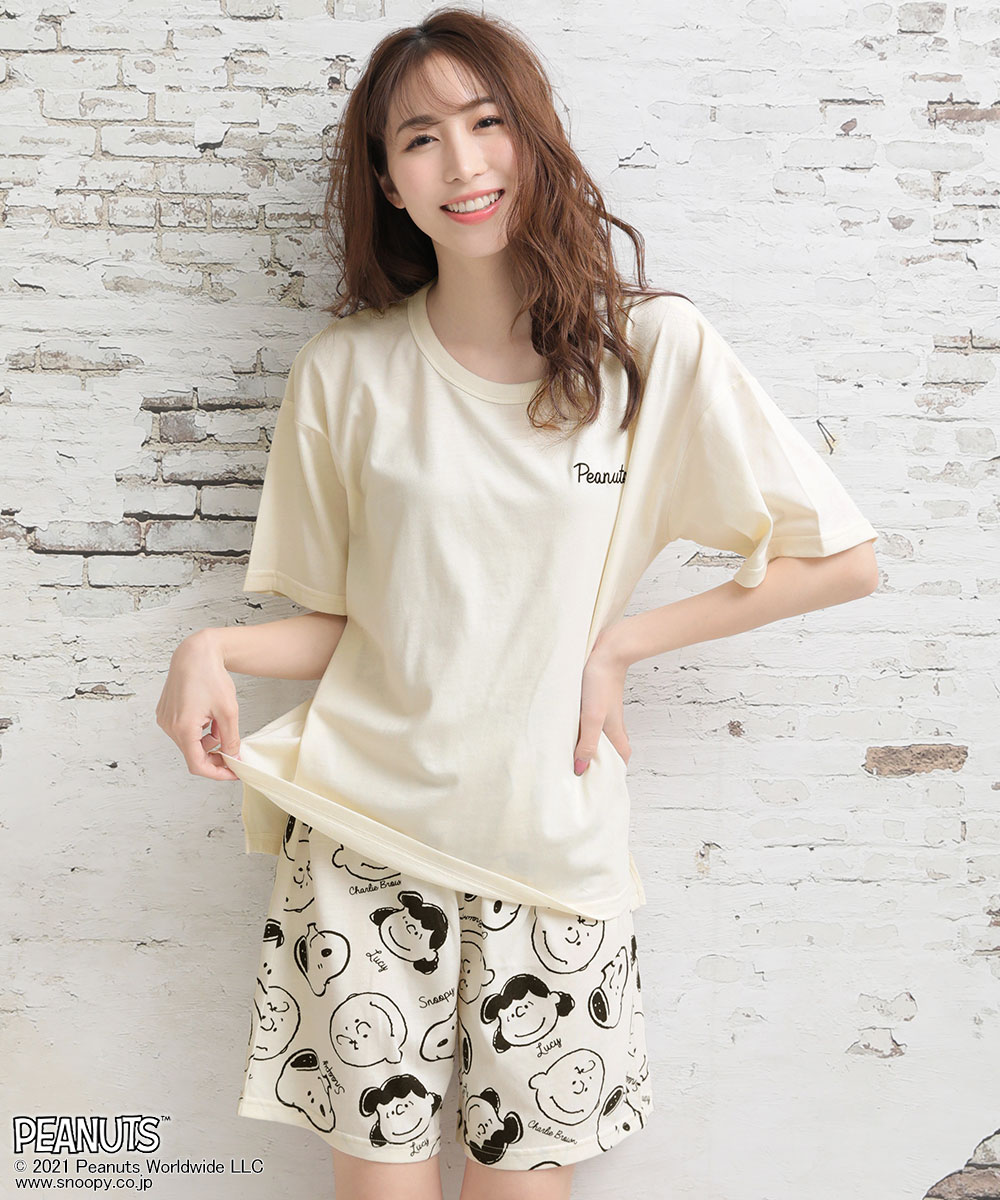 PEANUTS スヌーピー バックプリント Tシャツ 上下セット:MODEL:164cm/SIZE:M