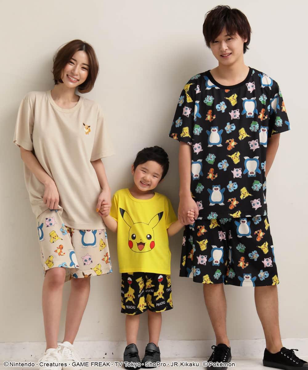 ポケモン ワンポイント Tシャツ 上下セット (男女兼用サイズ):左から:158cm/SIZE:M、95cm/SIZE:110、173cm/SIZE:LL