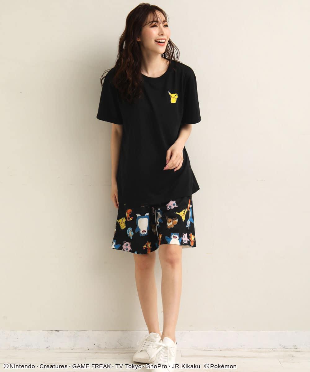 ポケモン ワンポイント Tシャツ 上下セット (男女兼用サイズ):MODEL:164cm/SIZE:M