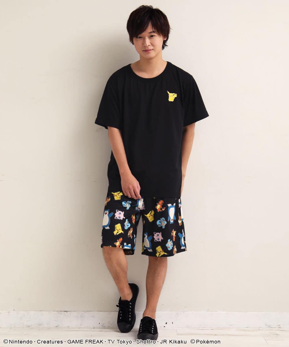 ポケモン ワンポイント Tシャツ 上下セット (男女兼用サイズ):MODEL:173cm/SIZE:LL