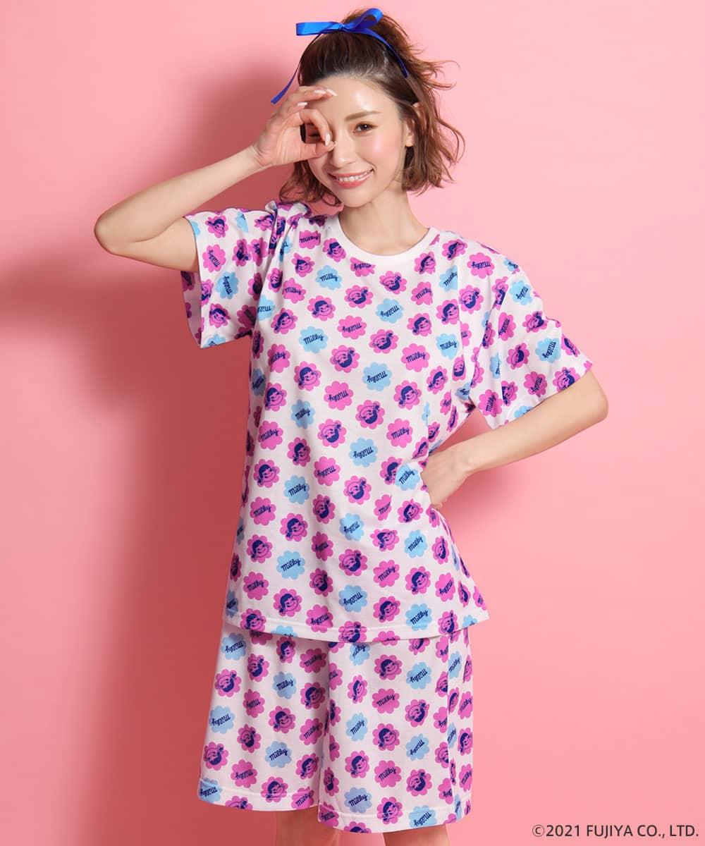 【プライスダウン】ペコちゃん キャンディ Tシャツ 上下セット:MODEL:158cm/SIZE:M