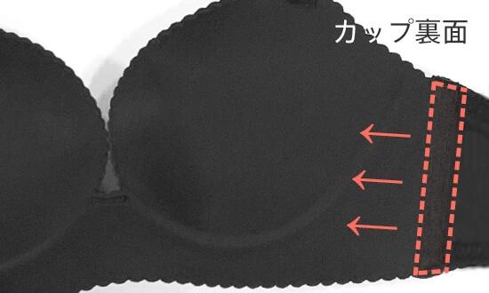 ノンワイヤー 美胸ブラの機能説明画像。脇高ボーン搭載!脇から寄せた胸をキャッチして美シルエットをキープ